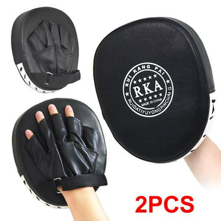 Wkf Karate Mitt - Topeakmart 2x Leather Boxing Mitt Training Target Focus Punch Pad Glove Karate Muay Thai Kick MMA