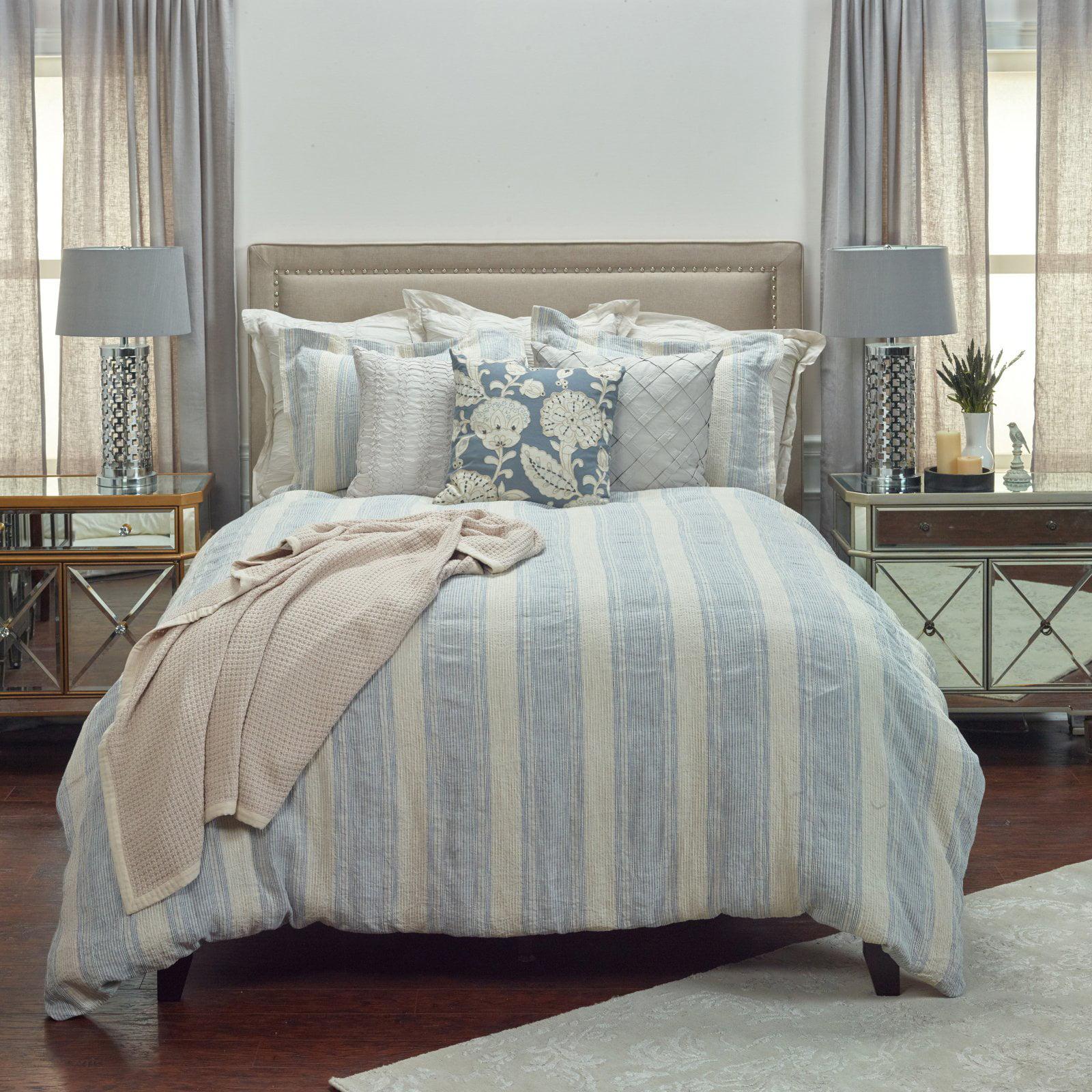 "Rizzy Home Prescott Preserve Blue Linen Duvet Bedding Cover 114"" x 98"""