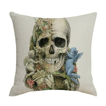Halloween Pillowcase Dress Patterns (Halloween Pillowcase Skeleton Head Pattern Sofa Cushion Cover Party)