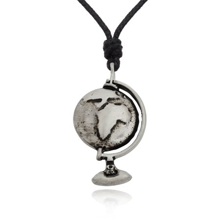 Globe Earth With Stand Silver Pewter Charm Necklace Pendant Jewelry With Cotton Cord ()