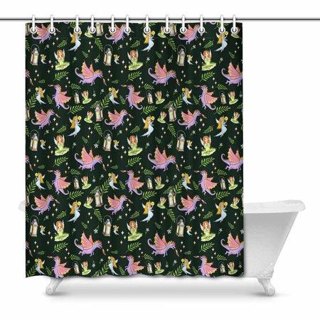 POP Magic Dragons Art Shower Curtain Set 66x72 inch - image 1 of 1