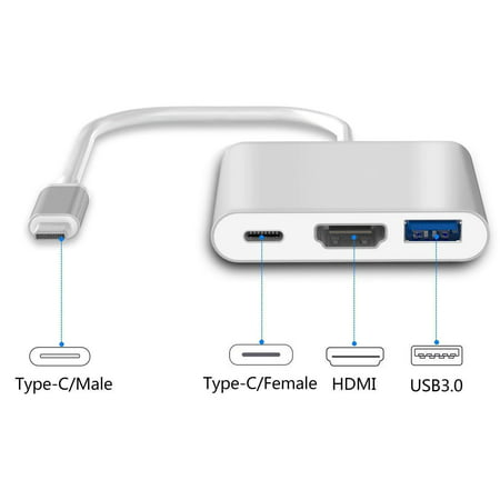 USB-C to HDMI Adapter, 3 in 1 Type C to HDMI 4K Adapter Digital AV Cable and USB C Charging Port and USB 3.0 Port with 1080P Resolution Sync Screen for MacBook, Chromebook Pixel to TV Screen (Silver)