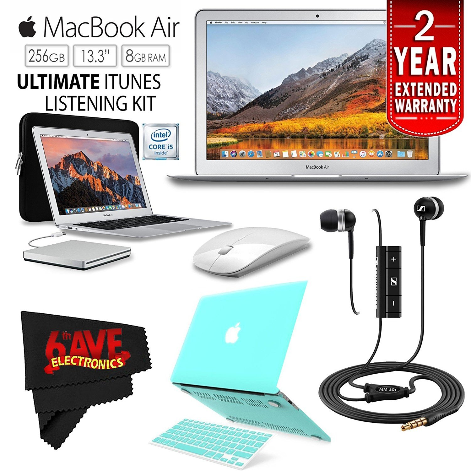 "6Ave Apple 13.3"" MacBook Air 256GB SSD MQD42LL/A + iBenzer Basic Soft-Touch Series Plastic Hard Case & Keyboard Cover for Apple Macbook Air 13-inch 13"" (Turquoise) + Apple USB SuperDrive Bundle"