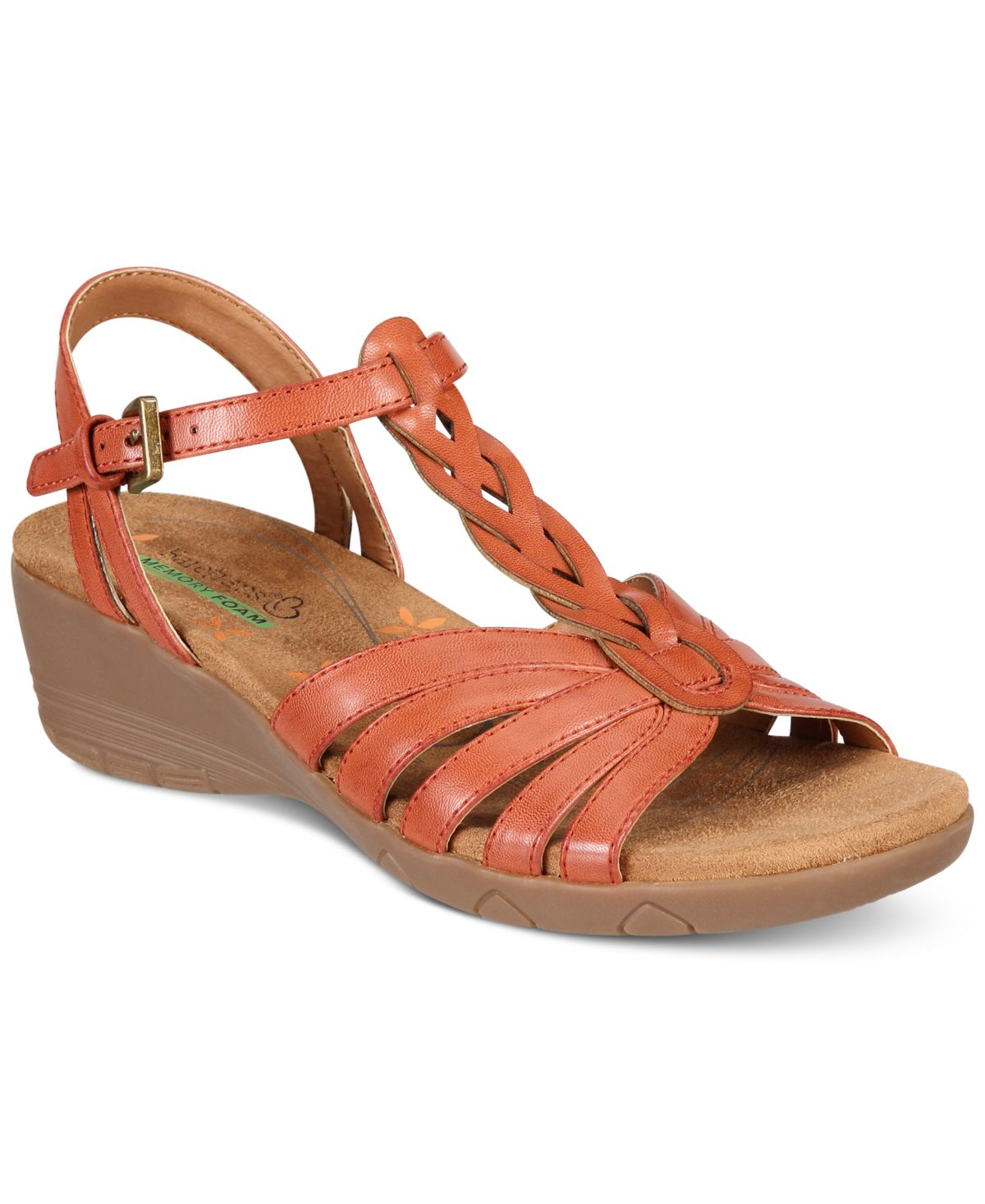 womens bare traps honora memory foam wedge sandals, red rose