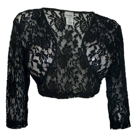 61001e194db05 eVogues Apparel - eVogues Women s Open Front Sheer Lace Bolero Shrug Black  - Walmart.com