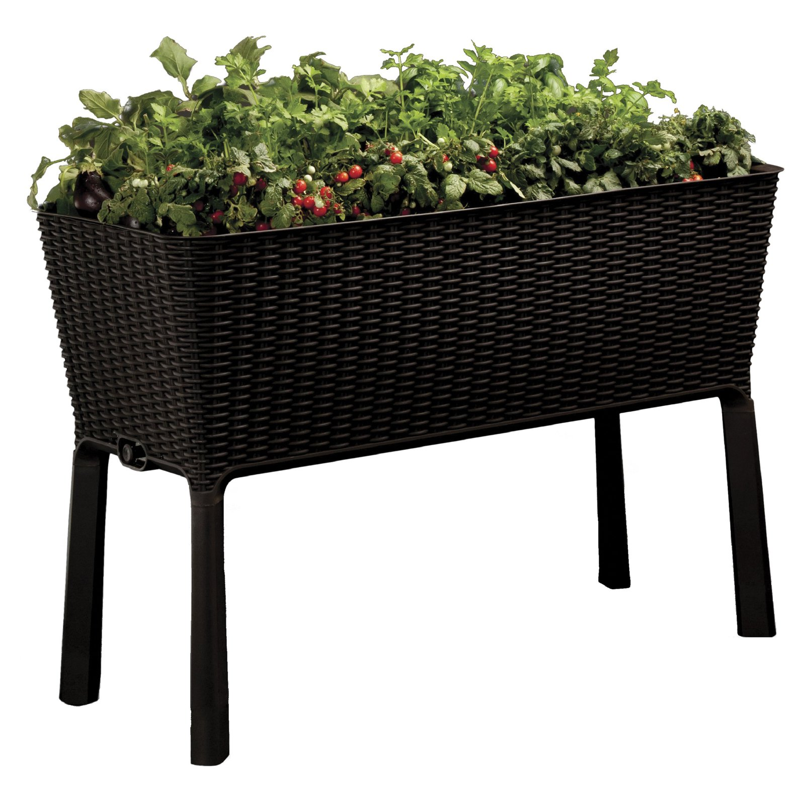 Elevated Garden Raised Planter Easy Grow Flower Bed Outdoor Patio Brown  Keter