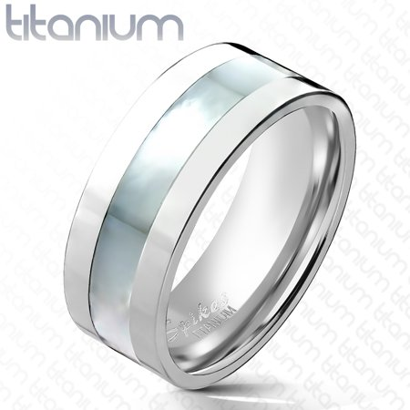 Dot Mother Of Pearl Ring - 6mm Mother of Pearl Inlayed Band Ring Solid Titanium Women' Ring (SIZE: 5)