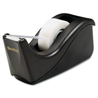 "Scotch Value Desktop Tape Dispenser, 1"" Core, Black or Silver"