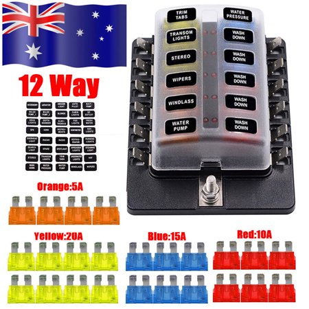 12 Way Blade Fuse Holder Box LED Indicator 12V Circuit Caravan Truck
