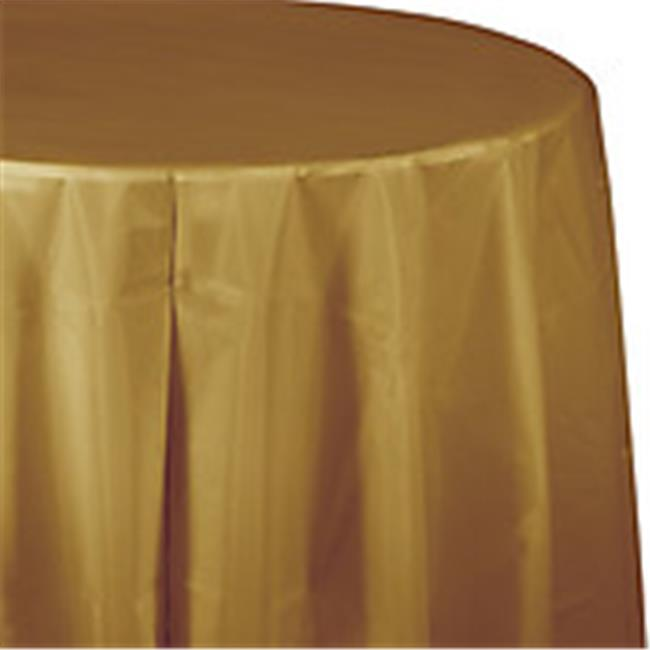 CPC B82PCG 82 in. Round Disposable Plastic Table Cover, Gold - Case of 12