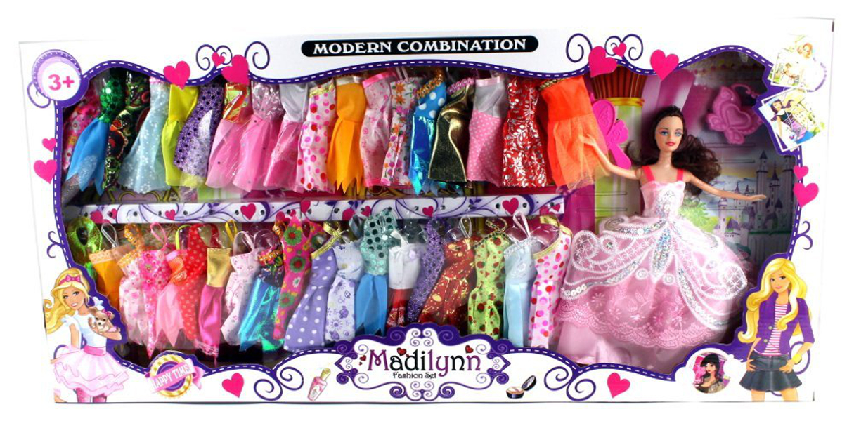 Modern Madilynn Children's Kid's Toy Fashion Doll Playset w  Doll, Assorted Dresses, Accessories by Velocity Toys