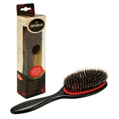 Denman Small Natural Nylon Quill Bristle Grooming Hair Brush, BLACK, P081SBLK