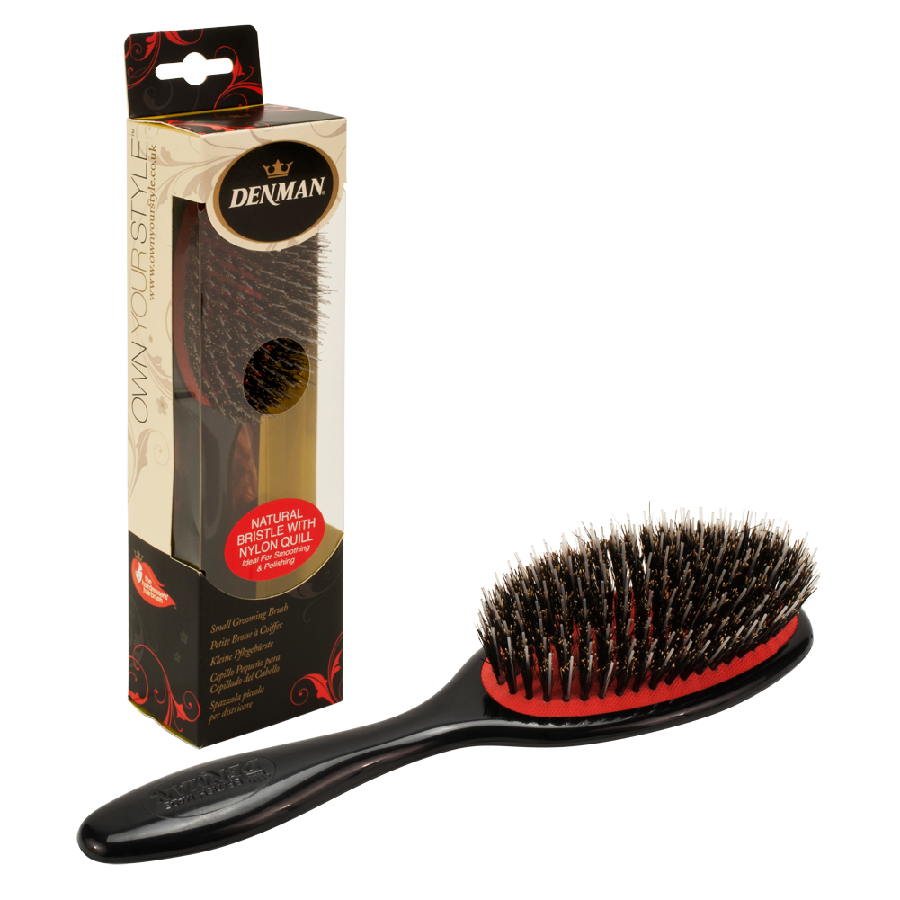 Denman Small Natural Nylon Quill Bristle Grooming Hair Brush, BLACK, P081SBLK