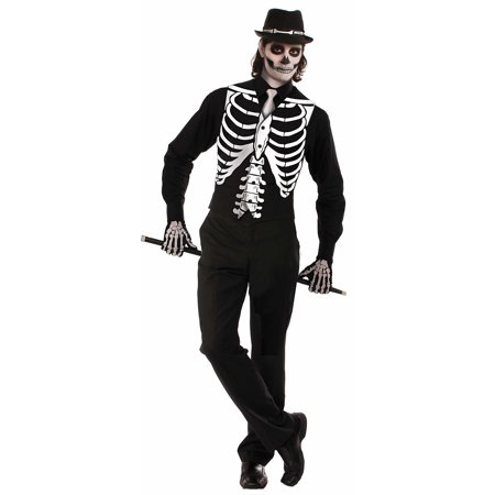 Bone Costume Accessory (Skeleton Bone Vest Bones Black White Top Adult Mens Halloween Costume Accessory )