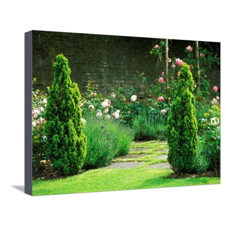 Country Garden Filled with Roses and Borders with a Pond and Old House, Wiltshire Stretched Canvas Print Wall Art By Lynn Keddie