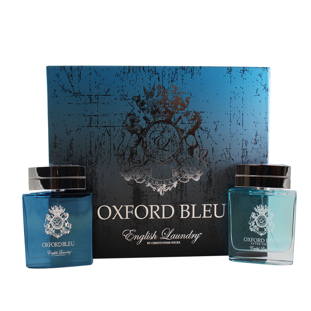Oxford Bleu 2 Pc. Gift Set ( Eau De Parfum Spray 3.4 Oz + After Shave Spray 3.4 Oz ) by ENGLISH LAUNDRY OXFORD BLEU