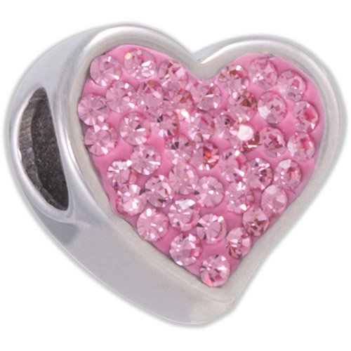 Connections from Hallmark Pink Crystal Stainless Steel Heart Bead