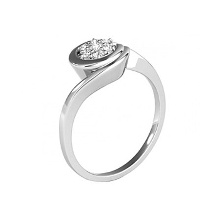 Cubic Zirconia Swirl Engagement Sterling Silver Ring - image 6 de 7