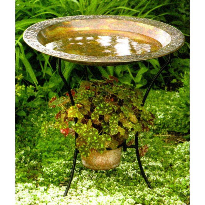 Ancient Graffiti Copper Plated Steel Birdbath by Ancient Graffiti
