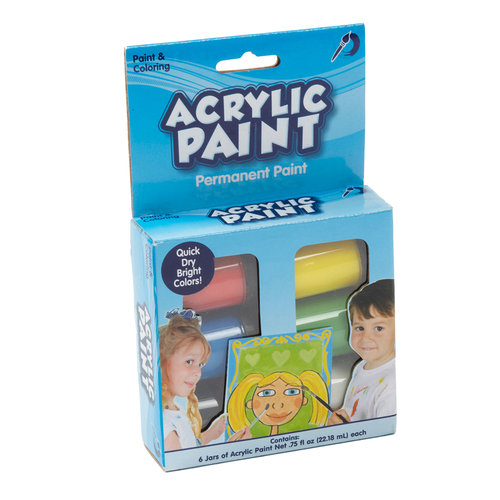 Kids Craft Acrylic Paint, 6 Jars
