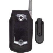 UNICEL Leather Case (Black) With Swivel Belt Clip for Motorola V710