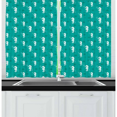 Seahorse Curtains 2 Panels Set, Ocean Themed Figures Marine Aquatic Bubbles Sea Life Coastal Pattern, Window Drapes for Living Room Bedroom, 55W X 39L Inches, Sea Green Teal and White, by Ambesonne