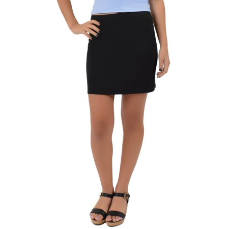 Women's Basic Rayon Mini Skirt - Large (8-10) / Black Black Vinyl Mini Skirt