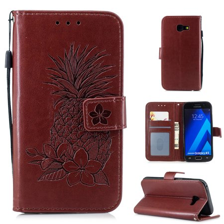 Galaxy A5 2017 Case, Allytech Premium PU Leather Retro Pineapple Fashion Design Book Cover Slim Folio Stand Hand Strap Cards Slots Wallet Case Silicone Cover for Samsung Galaxy A5 2017, Brown - Leather Boot Covers