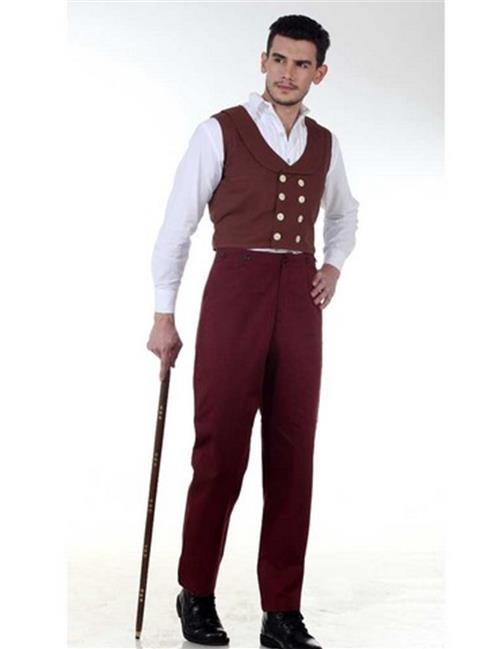 The Pirate Dressing C1329 Canvas Classic Pants, Maroon - 3XL