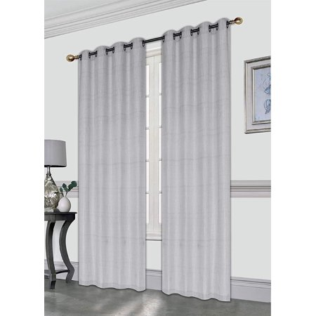 Faux Sparkles - Gwen 52X84 Decorative Crushed Faux Linen Curtain Panel, Elegant Sparkle Metallic Solid Color Window Curtain, Single Panel, Grey
