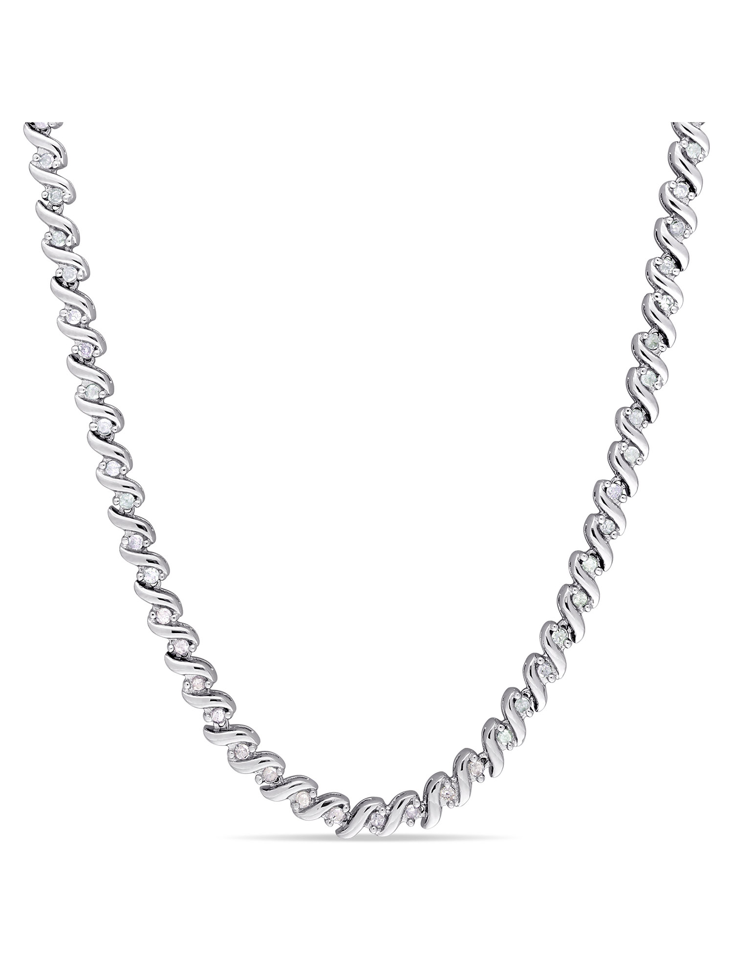 "Miabella 1 Carat T.W. Diamond Sterling Silver Tennis Necklace, 17"" by Miabella"