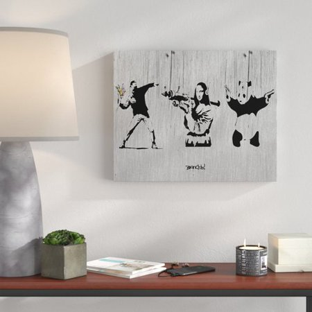 - Wrought Studio 'Flower Thower, Mona Lisa, and Panda' Graphic Art Print on Wrapped Canvas