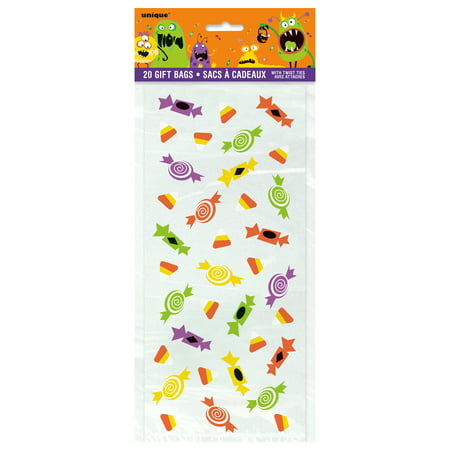 Silly Monsters Halloween Cellophane Bags, 11.5 x 5 in, - Dollar Tree Halloween Bags