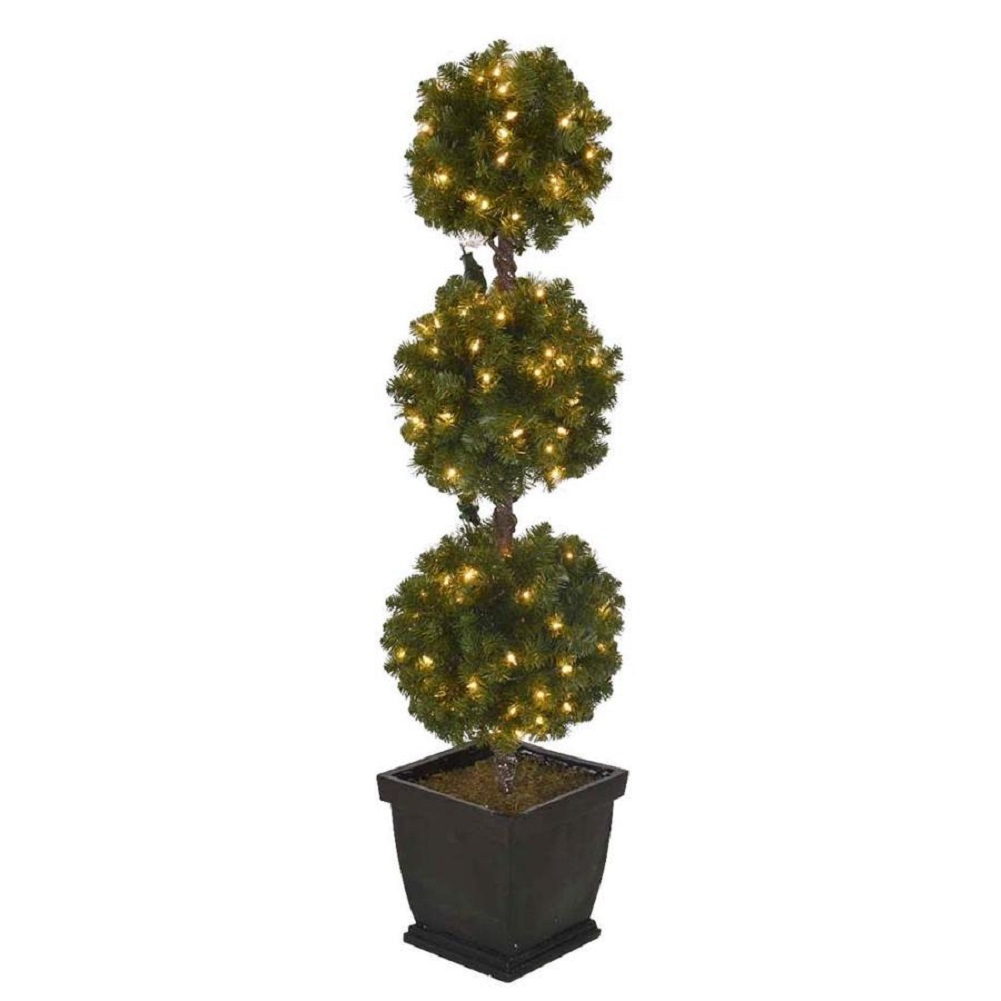 Holiday Living 4-ft Pre-lit Triple Ball Topiary Slim