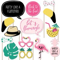 Pink Flamingo - Tropical Summer Photo Booth Props Kit - 20 Count