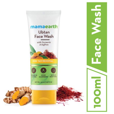 Mamaearth Ubtan Natural Face Wash for Dry Skin with Turmeric & Saffron for Tan removal and Skin brightning 100 ml - SLS & Paraben