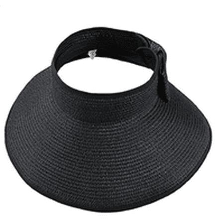 Women's Sun Hat Sun Visor Hat Foldable Summer Wide Brim Roll-Up Straw Open Top Cap Summer Flap Cover Cap Beach Hat Black