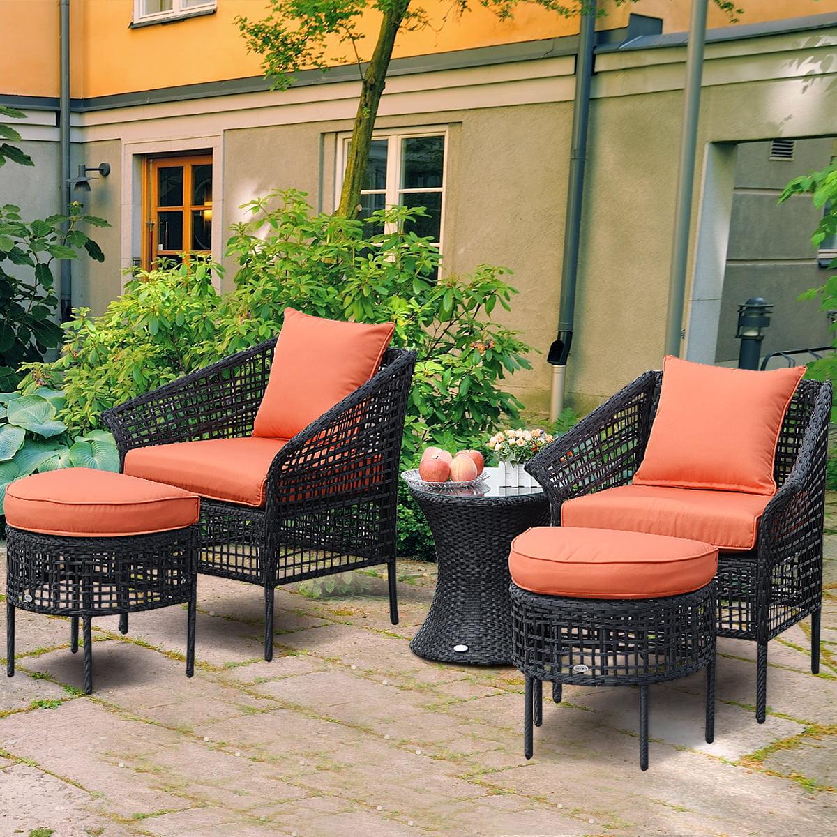 Gymax 5 PCS Patio Rattan Furniture Set Seats Chair Table With Ottoman Orange