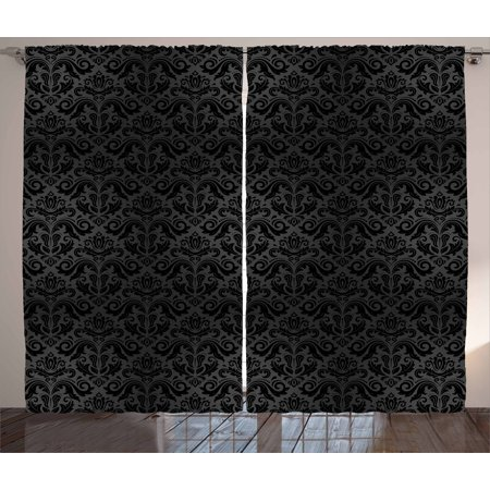 - Dark Grey Curtains 2 Panels Set, Black Damask Arabesque and Floral Elements Oriental Antique Ornament Vintage, Window Drapes for Living Room Bedroom, 108W X 108L Inches, Black Grey, by Ambesonne