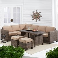 Better Homes & Gardens Brookbury 5-Piece Patio Wicker Sectional Set with Tan Cushions