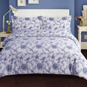 Printed Flannel 3 Piece Floral Duvet Cover Set By Tribeca Living - Blue