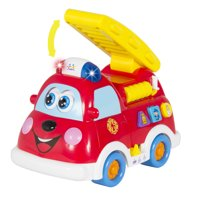Best Choice Products Teaching Fire Truck Toy w/ Bump'n'Go, Lights, Sounds, English and Spanish Phrases