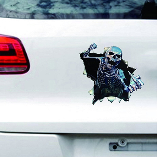 3D Skeleton Skull Hole Car Window Decal Auto Decoration Waterproof Car Sticker by Bluelans