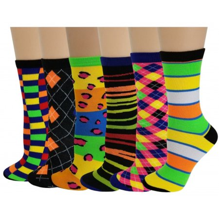 Sumona 6 Pairs Women Bright Colorful Assorted Fancy Design Novelty Crew Socks 9-11