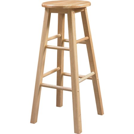 Round Bar Stools (Linon Barstool with Round Seat, Natural Finish, 29 inch Seat Height )