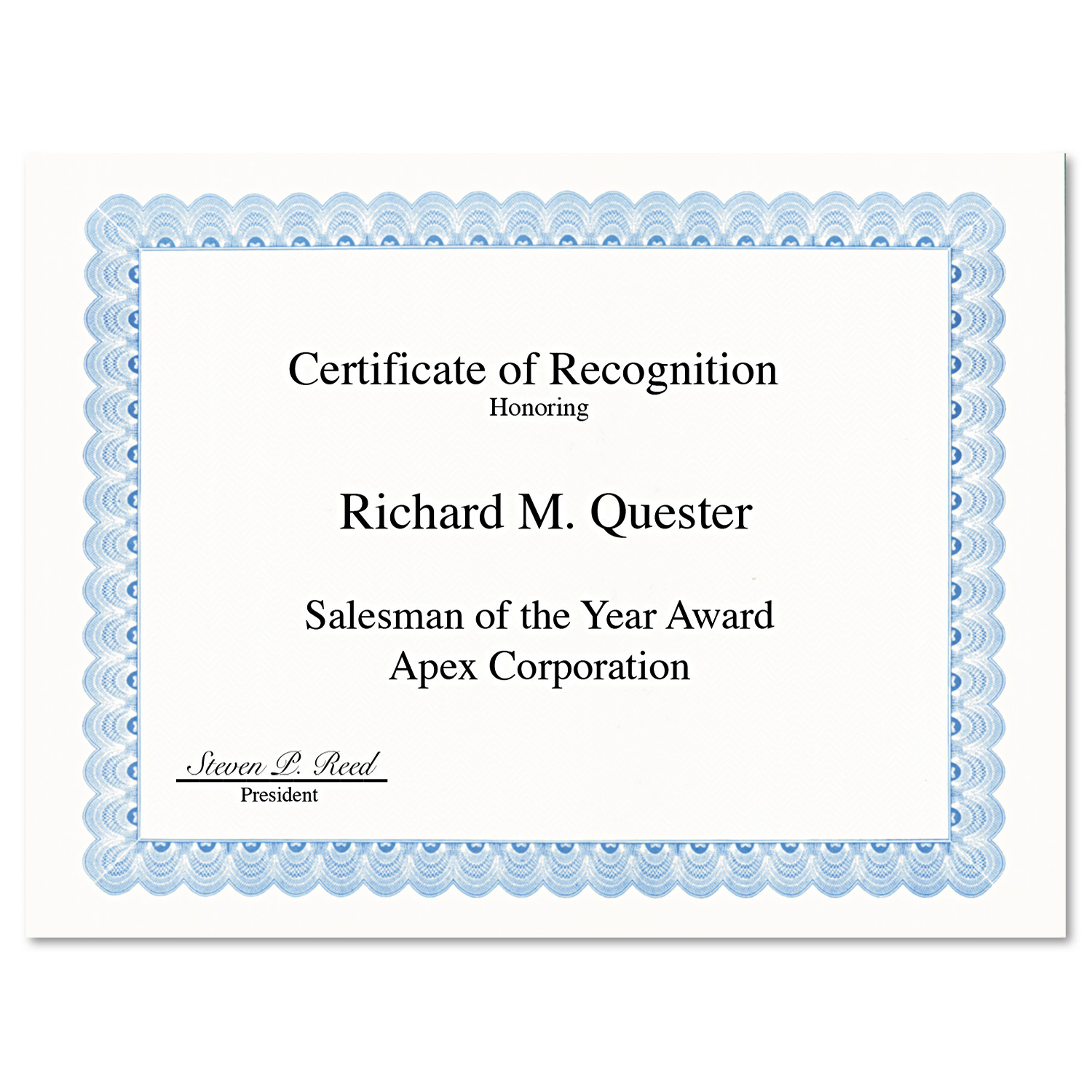 Geographics Parchment Paper Certificates, 8-1/2 x 11, Blue Conventional Border, 50/Pack -GEO20008