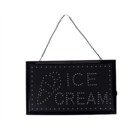 Flashingboards LED Open Sign with On/Off switch and Ice Cream Cone