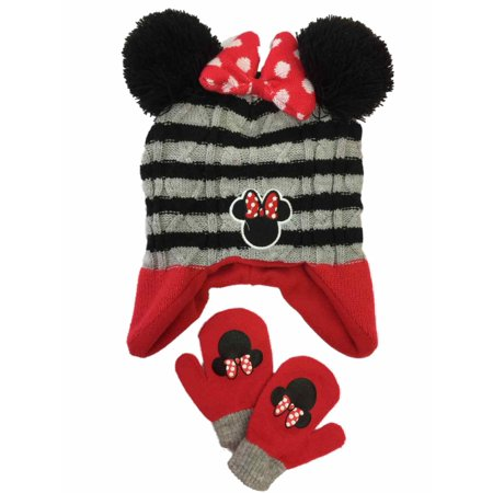 Toddler Girls Black & Gray Stripe Knit Minnie Mouse Trapper Hat & Mittens Set