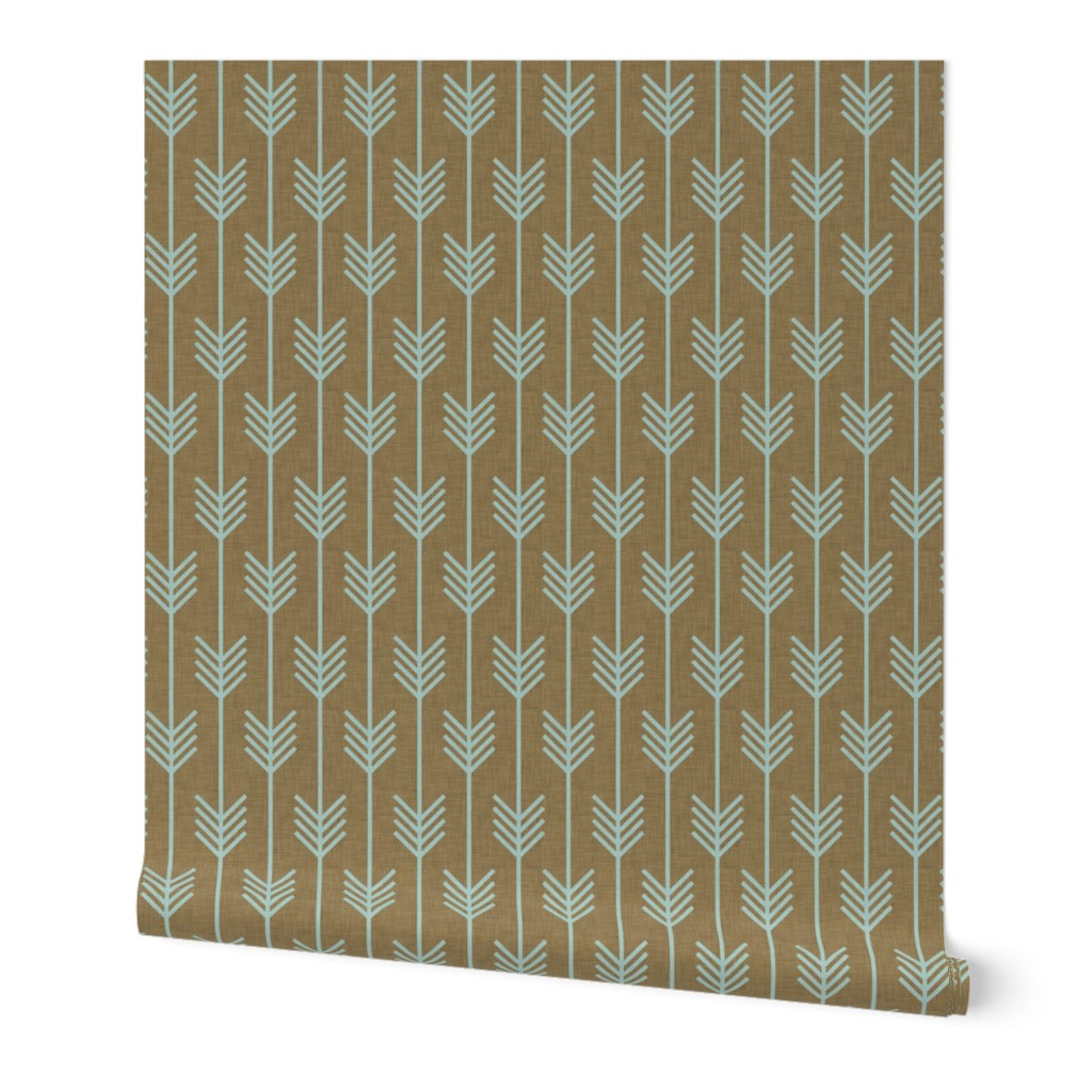 Wallpaper Roll Aztec Floral Flowers Feathers Mustard Blue 24in x 27ft