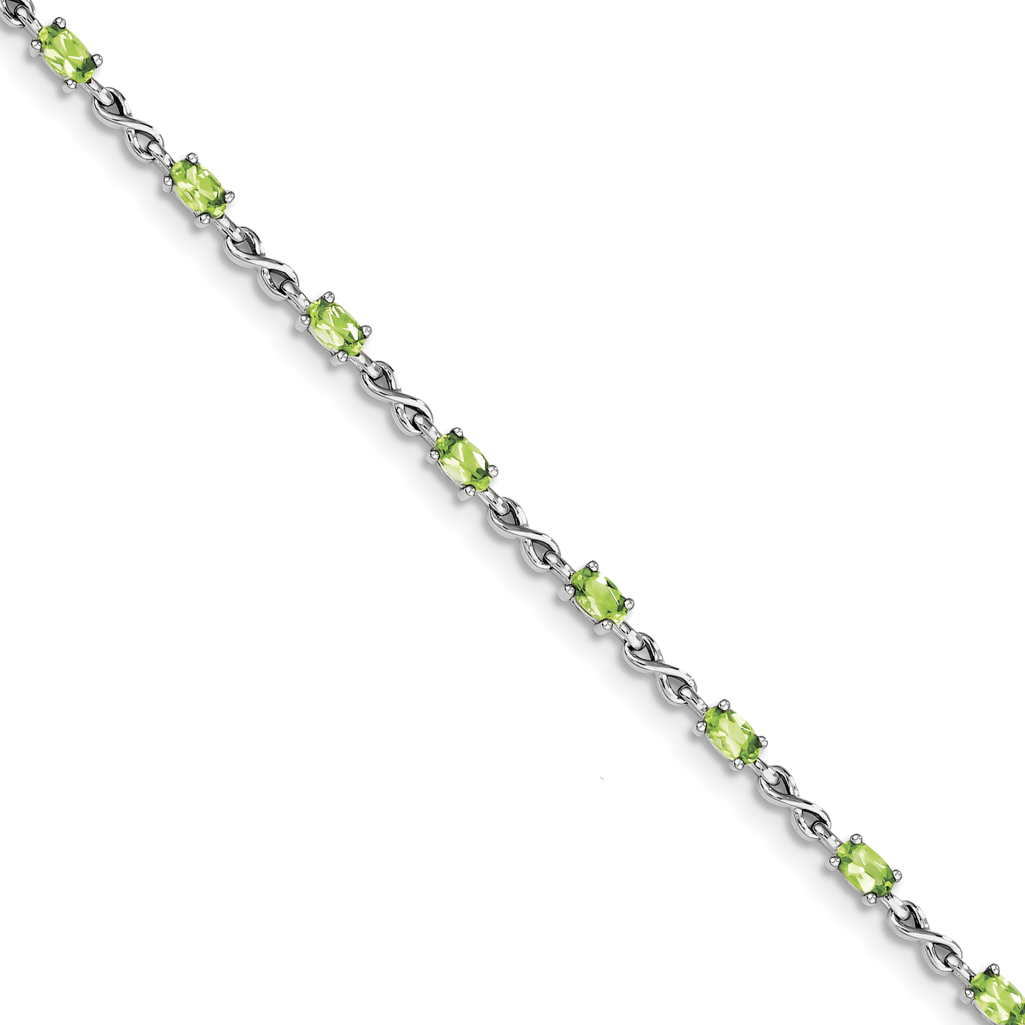 Roy Rose Jewelry Sterling Silver Peridot Bracelet ~ Length 7.5'' inches by